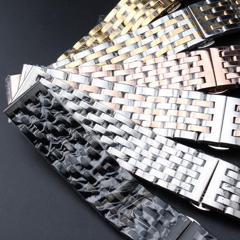 Новый Fashion-Часы Браслет для Часов класса люкс Мужчины Женщины 20 ММ 22 мм Ремешок прямой конец Черный Серебро Золото Rosegold замена