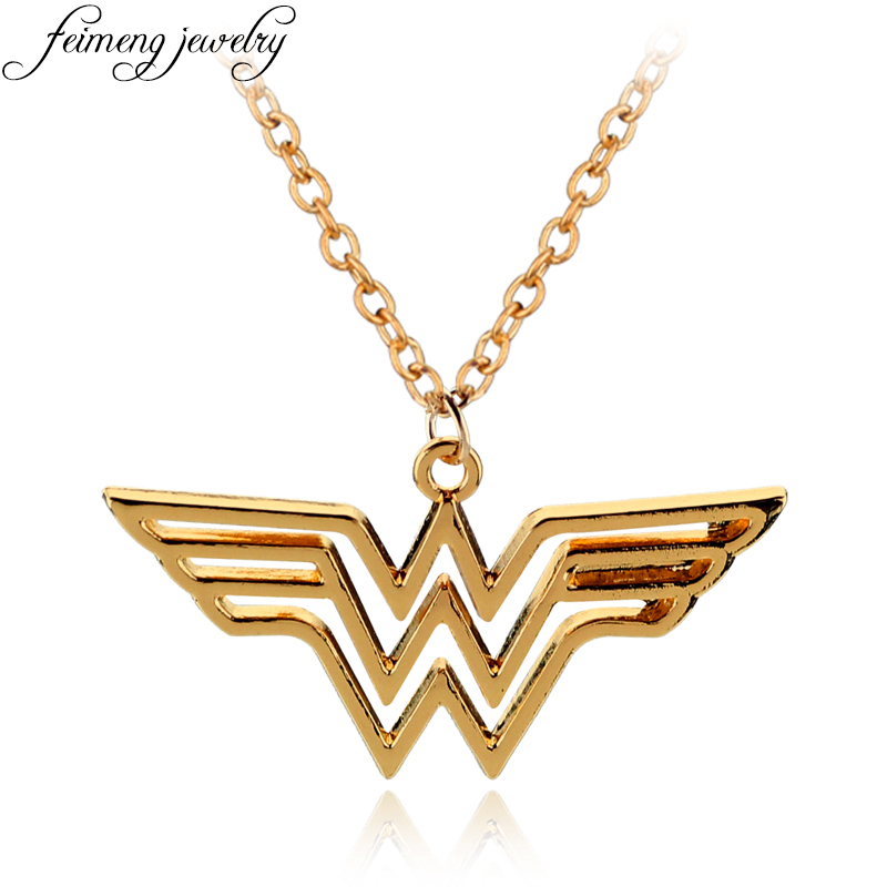 feimeng jewelry DC Superhero Wonder Woman Necklace Golden Super Hero Supergirl Logo Pendant Necklace For Women Charm Accessories(China (Mainland))