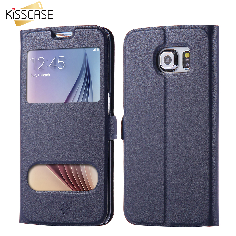 KISSCASE For Samsung Galaxy S7 Edge Window Case Ultra Flip Smart Answer Leather Stand Phone Cover For Samsung S7 G9300 S7 Edge(China (Mainland))