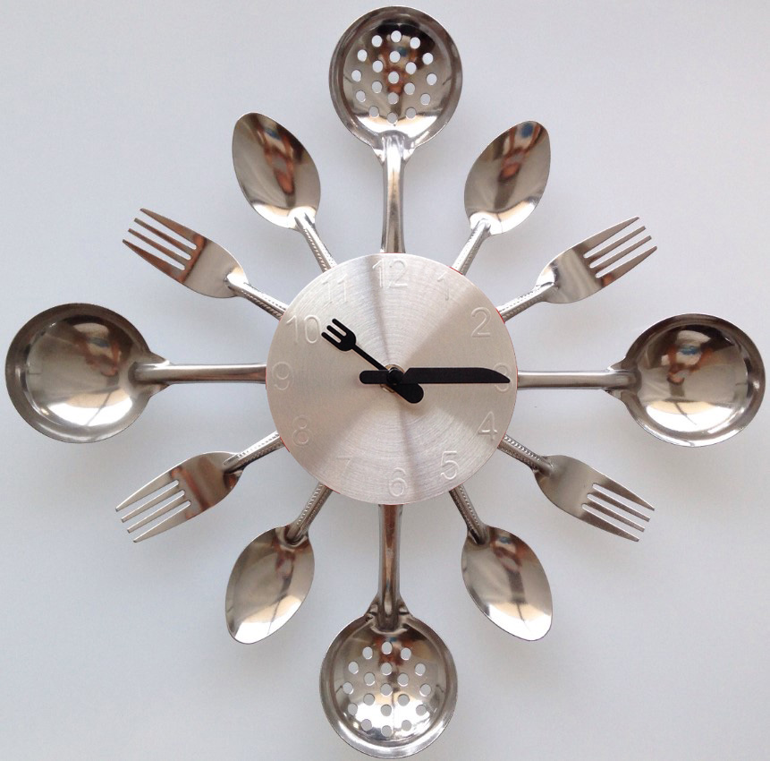 home decoration wall clock Knife Fork Spoon Originality Kitchen clock restaurant quartz spoon and fork creative clock gifts(China (Mainland))