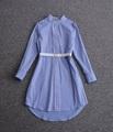 New British Style Summer Dress 2017 Ladies Stand Collar Blue White Striped Print White Belt Long