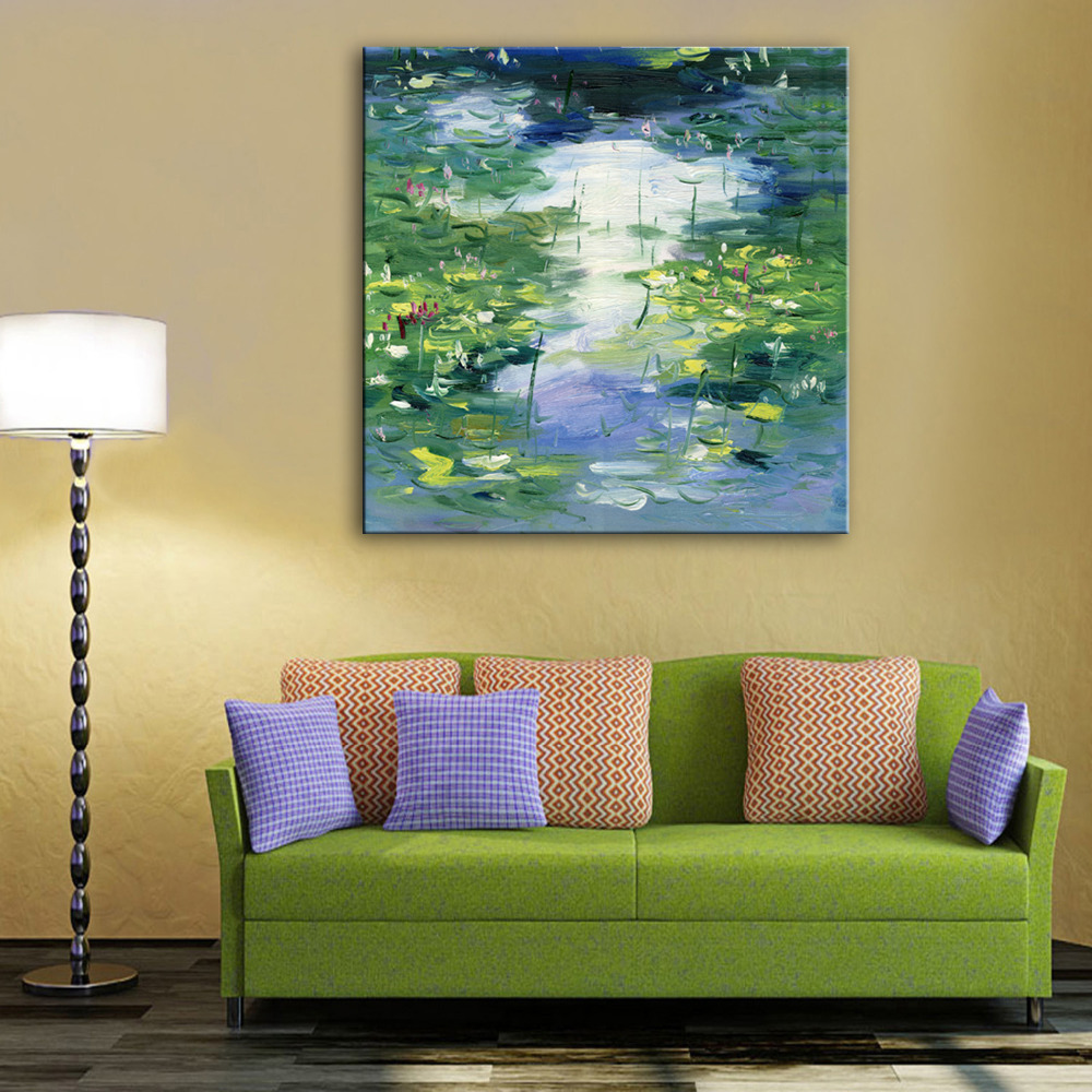 Free Shipping Hand Painting Oil Painting Pond Lotus Decoration Painting One Pcs Home Decor Modern Wall Prints(China (Mainland))