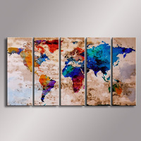 World Map painting Oil Painting  100% Hand Painted Modern Wall Art Painting ,Abstract  oil painting WM-006