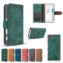 Retro Matte Magnetic Detachable Wallet Leather Case For Sony Ericsson Xperia XZ X Compact Mini Huawei Mate9 Pouch Cover 1pcs(China (Mainland))