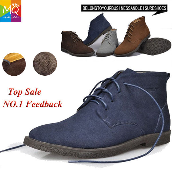New 2013 Hot Classic 100% Genuine Leather Fur +No fur Snow Boots Men Suede Boots Outdoor Brand Work Rubber Sole Shoes MS1001(China (Mainland))