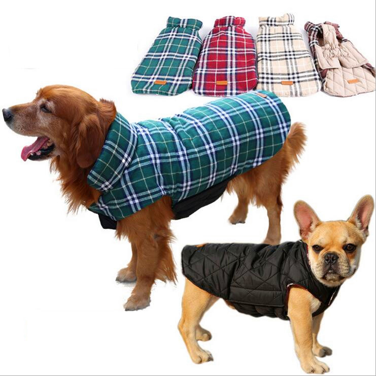 High Quality Winter Pet Dog Clothes Clothing Waterproof Reversible Jacket Designer Warm Plaid Winter Coats Elastic Small Large