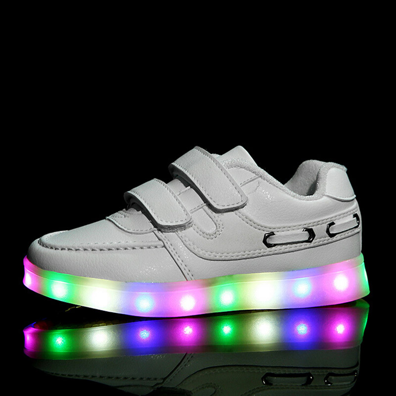 2016 New Girls Boys Kids Colorful LED Light Velcro Sneakers Chargable Luminous shoe Children Sports Shoes Wing Size 26~37