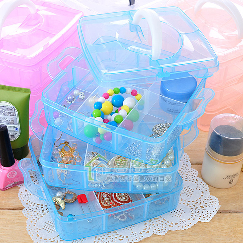 2015 New Fashion Transparent Plasitc Jewelry Makeup DIY Home Organizer Boxes Protable Travel Cosmetic Storage Case