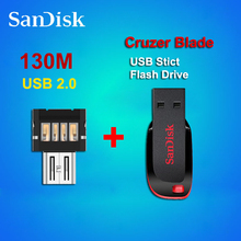 100% Original Genuine Sandisk Cruzer Blade USB stick flash drive CZ50 64GB 32GB 16GB  8GB  + OTG adapter for Android Smartphone