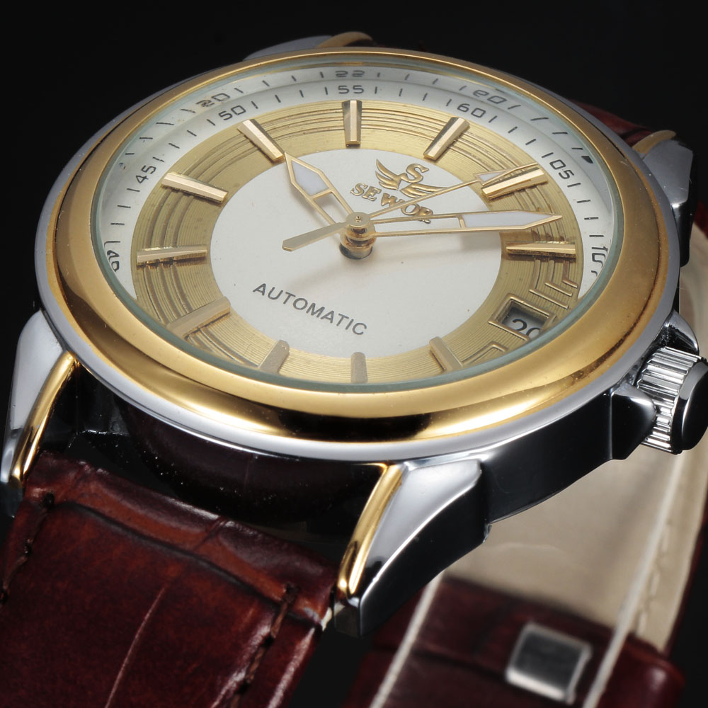 SEWOR brand design COOL fashion luxury male leather business skeleton automatic mechanical men military wrist watch gift clock(China (Mainland))