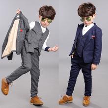 2016 New Children Suit Baby Boys Suits Kids Blazer Boys Formal Suit For Weddings Boys Clothes Set Jackets+Vest+Pants 3pcs 2-14Y(China (Mainland))