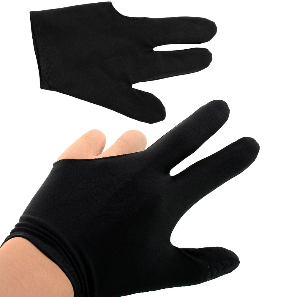 High Quality Durable Elastic Nylon 3 Fingers Glove for Billiard Snooker Cue Shooter Black Free shipping(China (Mainland))