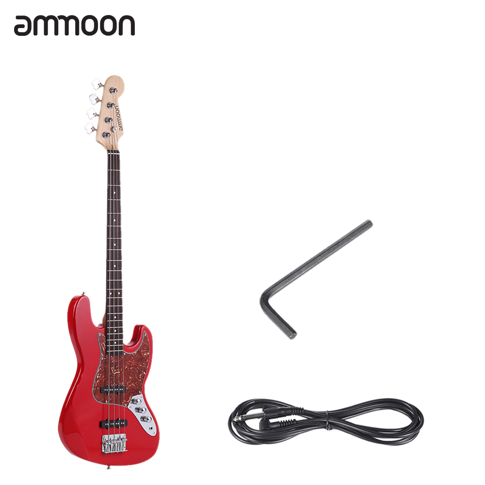 ammoon Solid Wood 4 String JB Electric Bass Guitar Basswood Body Rosewood Fretboard 24 Frets with 6.35mm Cable(China (Mainland))