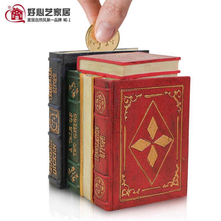 Hoshine Brand Handicraft High Quality Resin Books Piggy Bank Novelty Money Box Piggy Money Boxes for Home Decoration(China (Mainland))