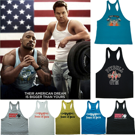 Men's Gym SUN/GORILLA/HOUSE OF PAIN/PITBULL GYM Tank Tops Muscle Stringer Bodybuilding Clothes Fitness Vest 100% Cotton Singlets(China (Mainland))
