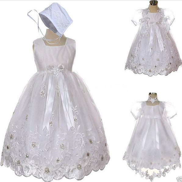 New Hot sale White/ivory Baby Girls Baptism Christening Floor Length Gown Short Sleeves First Communion Dresses Toddler Gowns(China (Mainland))