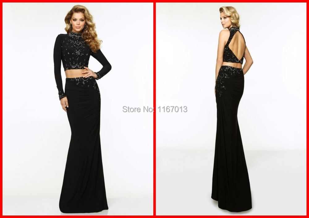 Collection Long Sleeve Long Black Dress Pictures - Reikian