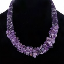 Women's Luxury Natural Amethyst Stone Decoration Necklace Personality Hand-made Rope Chokers Necklace Wedding Accessory(China (Mainland))