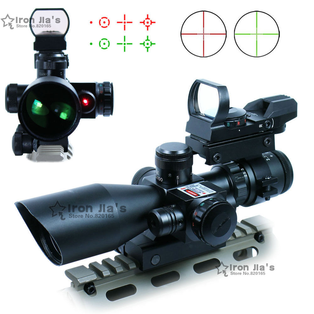 2.5-10X40 Tactical Rifle Scope w/ Red Laser & Holographic Green / Red Dot Sight Combo Airsoft Gun Weapon Sight Hunting(China (Mainland))