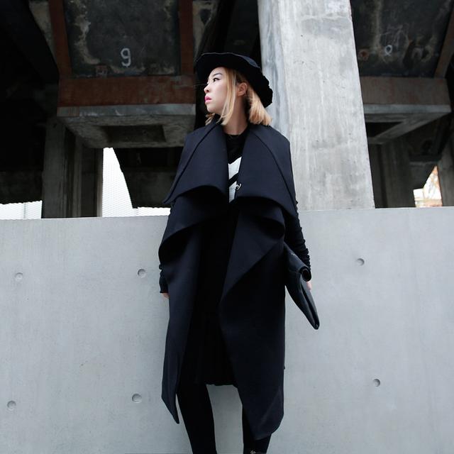 [Soonyour] 2016 Европа и Американских женщин большой лацкане длинный отрезок департамента Пространство хлопок куртку ветровку QBML01