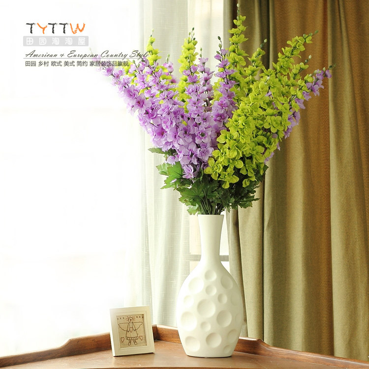 Green and purple hyacinth long sticks artificial flowers for Artificial flowers for home decoration online