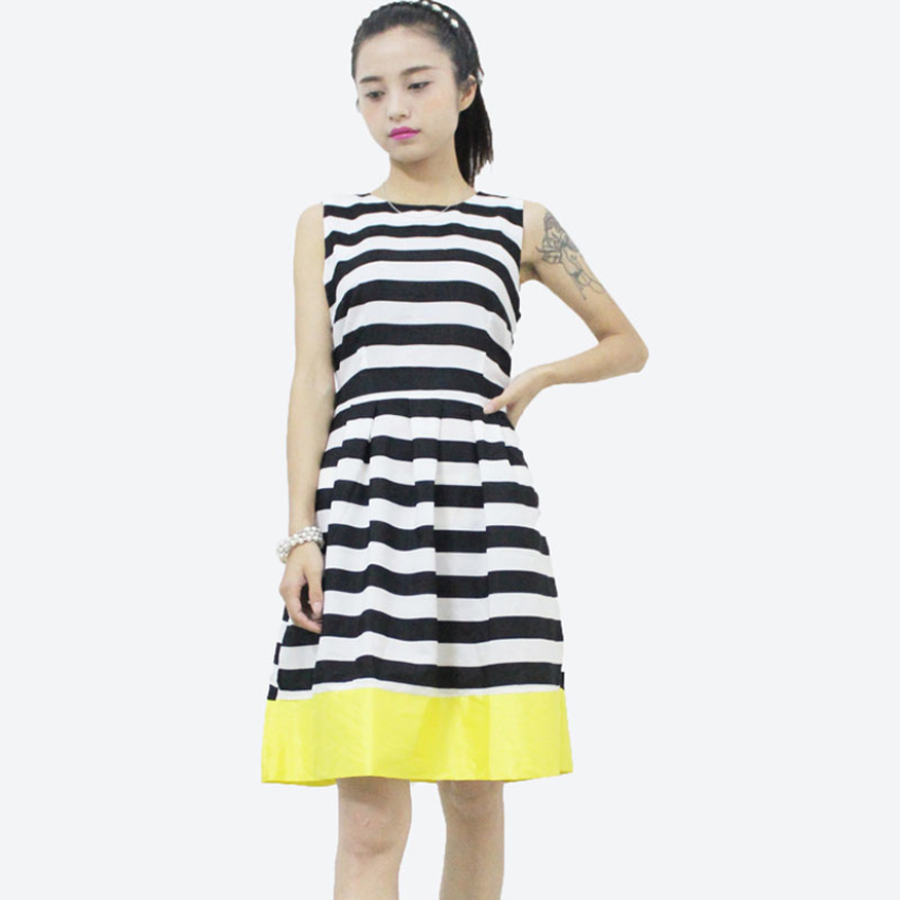 Hot Marketing 1PC Spring Summer Casual Women Evening Party Sleeveless Striped Dress Jul2(China (Mainland))