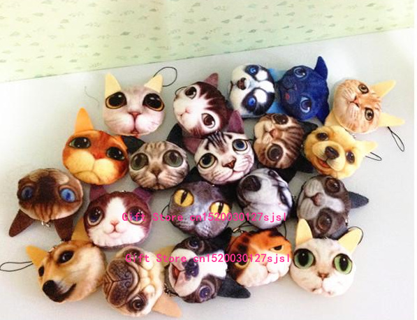 1X Design Random , Kawaii HOT 3D - 5CM Gift Cat , Doggies Plush Stuffed Toy , 3D Plush Animal String Decor Key Chain Plush Toy(China (Mainland))