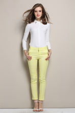 New Brief Patchwork / Chunmeina Wave Pocket Narrow Feet Nine Minutes Pencil Yellow White 5023(China (Mainland))