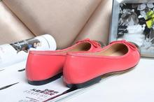 Classic Brand Designer Bowtie Round Toe Women Genuine Leather Casual Ballet Flats Shoes For Women CC leather shoes(China (Mainland))