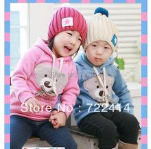 Free shipping Children's clothing new 2014 autumn winter kids bear outerwear girl fashion hoodies girls pullover sweatshirt(China (Mainland))