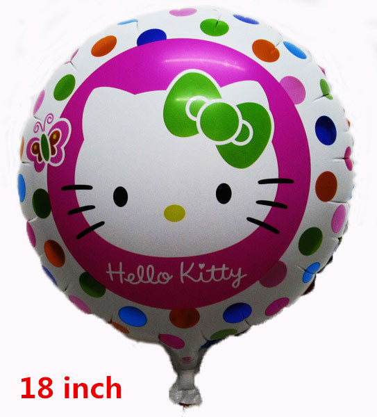 NEW 10pcs/lot 18inch round hello kitty balloon for hello kitty birthday party supplies valentine day hello kitty free shipping(China (Mainland))