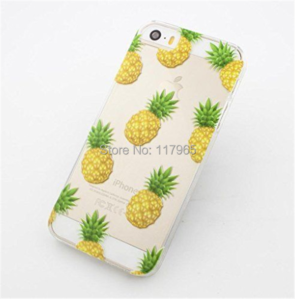 2016 Hot Selling Fruit Pineapple Transparent Clear Hard Plastic Back Case Cover For iPhone 6 6s Phone Case EC506A(China (Mainland))