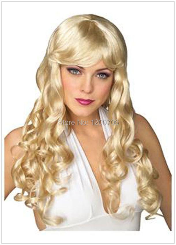 Парик косплей Yellow Curly Wigs  0107 fashion long curly hair wigs gold black