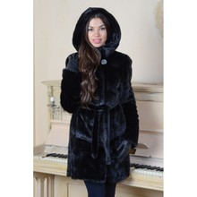 Winter Fashion Fur Coat Real Fur Genuine Leather Overcoat Women's Warm Mink Coat Jacket With Hood Black Color(China (Mainland))