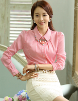2014 spring new sweet long sleeve blouse women stripped turn down collar, red/blue colors