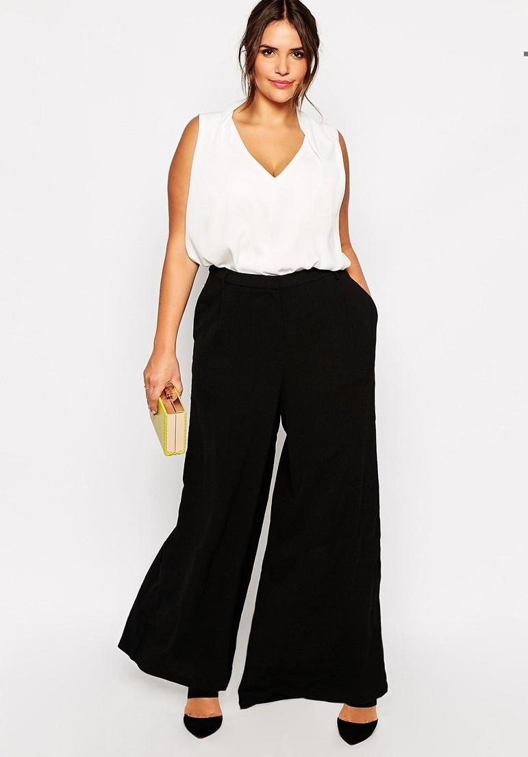 Fashion design black casual full length pantalon plus size ...