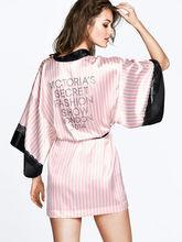 Sexy Secret Women Kimono Bathrobe,Soft Silk Slip Satin Robes for Pajamas Party ,Pink Striped Lace Robe/Sleepwear/Peignoire 1005(China (Mainland))