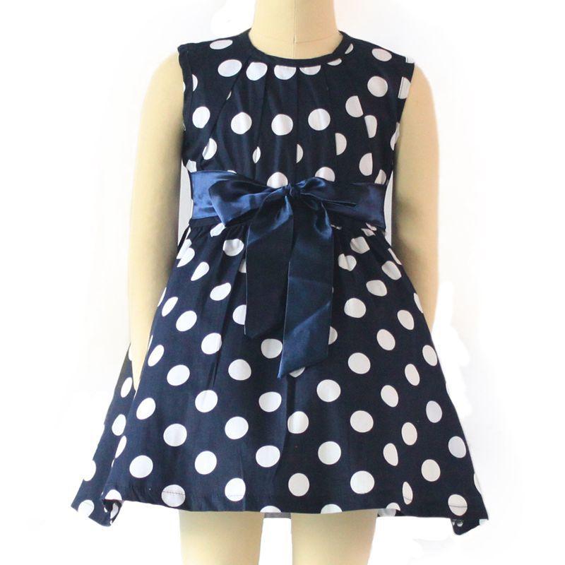 shijcc01 blue polka dots A-line sleeveless England summer style girl dresses cotton kids clothes(China (Mainland))