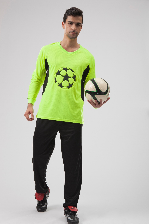 2016 Adult Soccer Goalkeeper Jersey boys Goal Keeper Uniforms Long Sleeve Suits Sponge Protector Suit Camisetas De Futbol Jersey(China (Mainland))