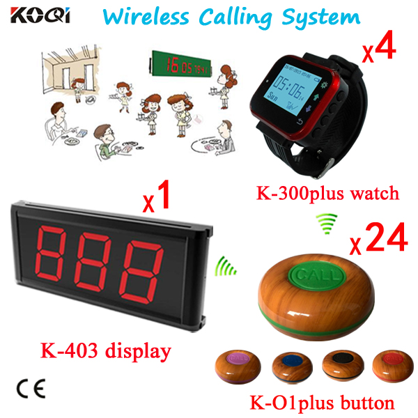 Wireless Table Bell DHL FREE Shipping < A SET of 1pc Receiver and 24pcs Call buttons With 4 Wristwatches > Wireless Call System(China (Mainland))