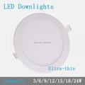 Thickness 3W 6W 9W 12W 15W 18W 24W round dimmable LED downlight emergency LED panel painel