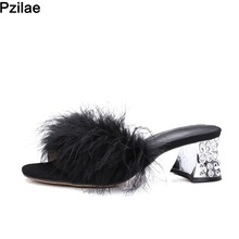 Buy PZILAE New 2017 Sexy faux Fur Slippers Rhinestone Square Heel Slip-On Sandals Summer Shoes Woman High Heel Sandals Plus Size 43 for $26.93 in AliExpress store
