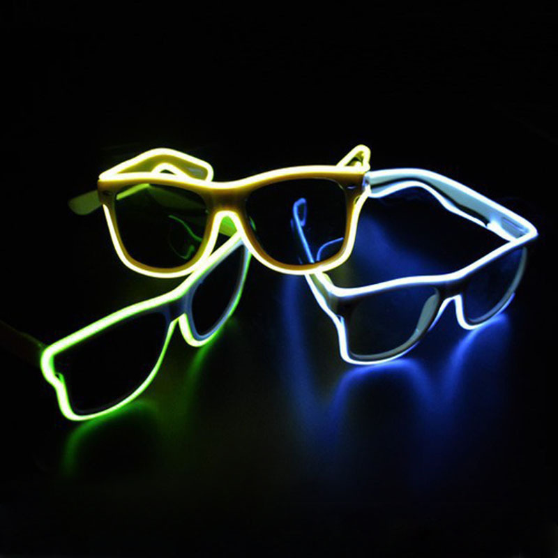 Blue el glasses El Wire Fashion Neon LED Light Up Shutter Shaped Glow Rave Costume Party DJ Bright Glasses(China (Mainland))