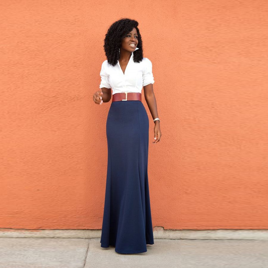 Long Navy Pencil Skirt | Jill Dress