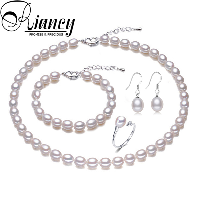 Freshwater Rearl Pearl Jewelry Sets Bridal,Natural Pearl Jewelry 925 Sterling Silver Earring Sets Necklace Birthday Gift White
