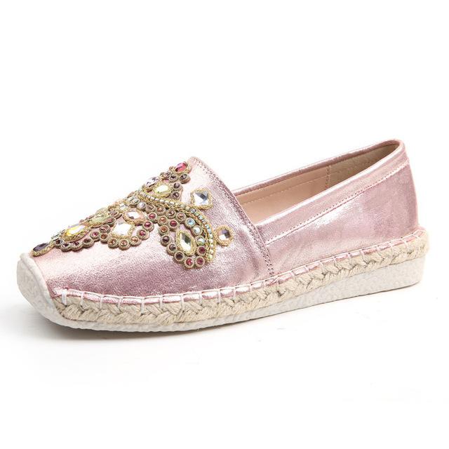 Горячая распродажа классический национальный стиль переплетения дамы зингель обувь горный хрусталь украшения отдыха квартиры мокасины женская обувь