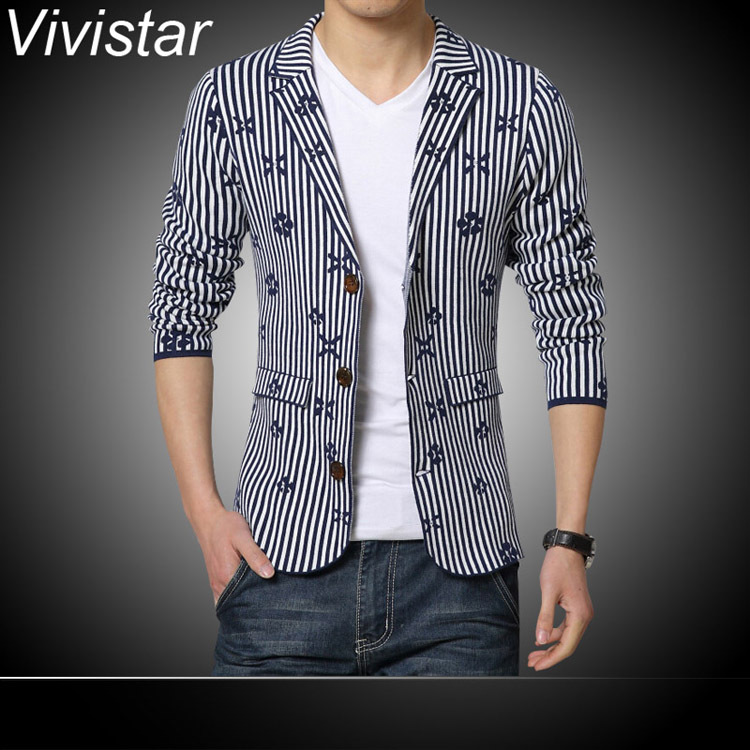 Blue Stripe & Black Stripe Men Blazer 2015 Spring & Autumn Classic Fashion Non Iron Turn Down Collar Casual Suit Blazer F0855