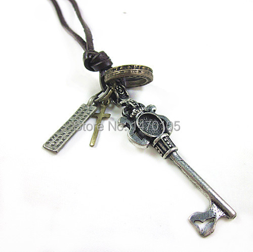 Men's Metal Key Copper Cross Pendant Genuine Leather Punk Style Necklace(China (Mainland))