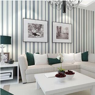 Buy mediterranean blue vertical stripes for Striped wallpaper living room ideas