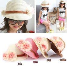 Girls summer baby straw Hats 2016 Fashion Big Flower Caps  small hat UV protection Sun Protection Floppy Beach Hat